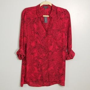 The Limited Paisley Roll Sleeve Button Up Blouse